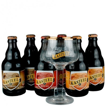 Lot de 6 Kasteel 33 cl + 1 verre