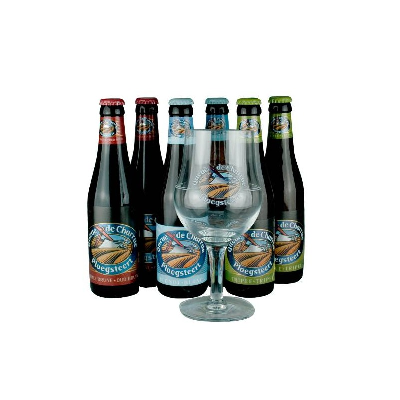 Lot de 6 Bière Belges Queue de Charrue 33 cl + 1 verre