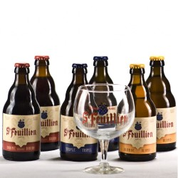 Lot de 6 Saint Feuillien 33 cl + 1 verre