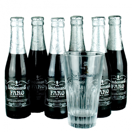lot de 6 Faro Lindemans 25 cl + 1 verre